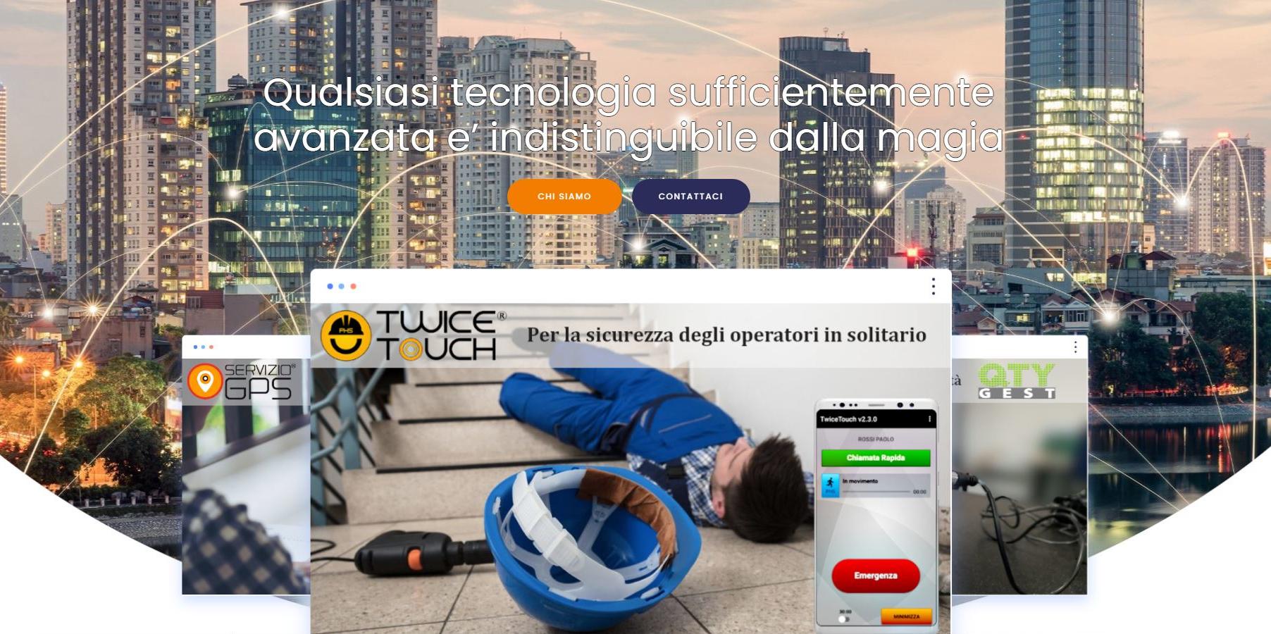 schermata home page di Engim Srl uomo a terra